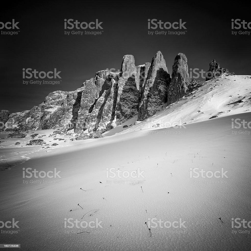 Winterscape in black and white stock photo