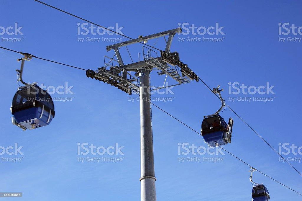 Wintersport gondola's on the move royalty-free stock photo