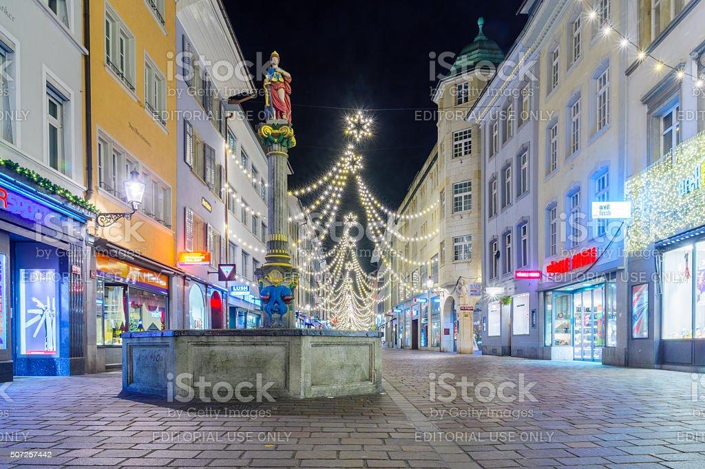 Winterthur Night Scene stock photo