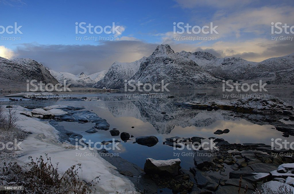 Wintertime at Bø i Flakstad royalty-free stock photo