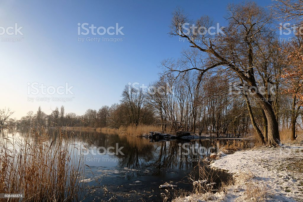 wintertime at Havel river at Havelland Region stock photo