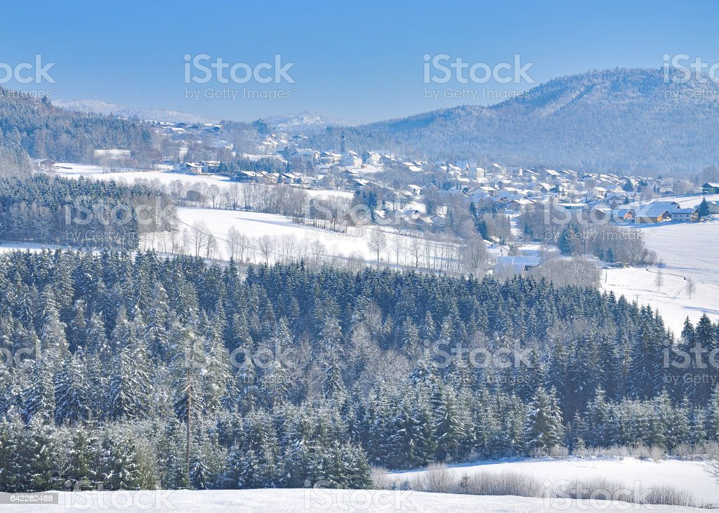 Wintertime in bavarian Forest,Germany stock photo
