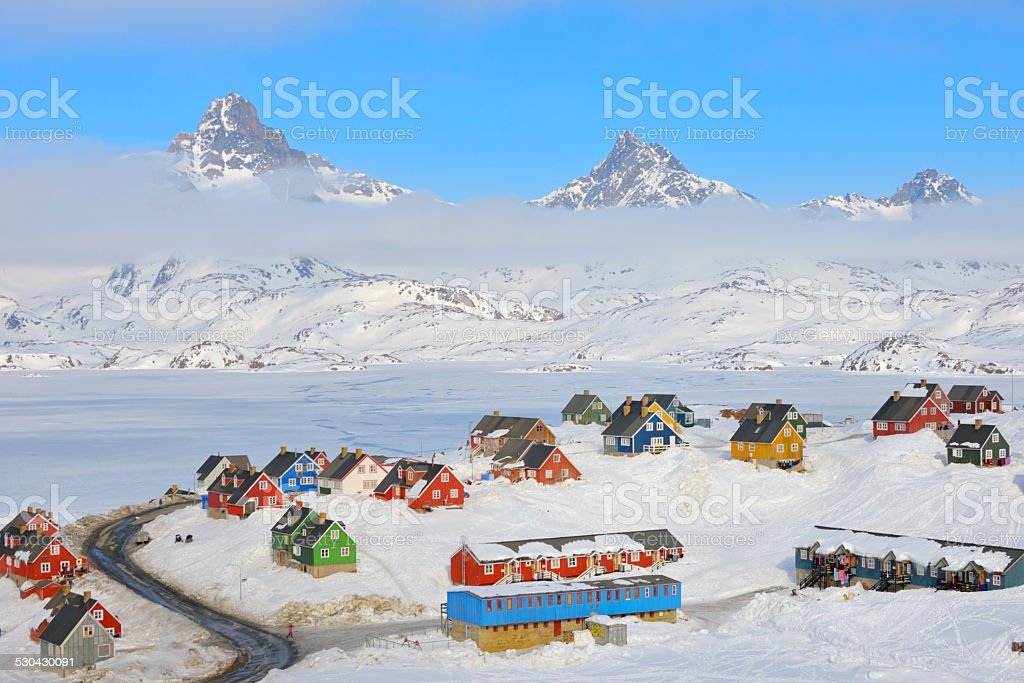 Wintertime in Tasiilaq, Greenland stock photo