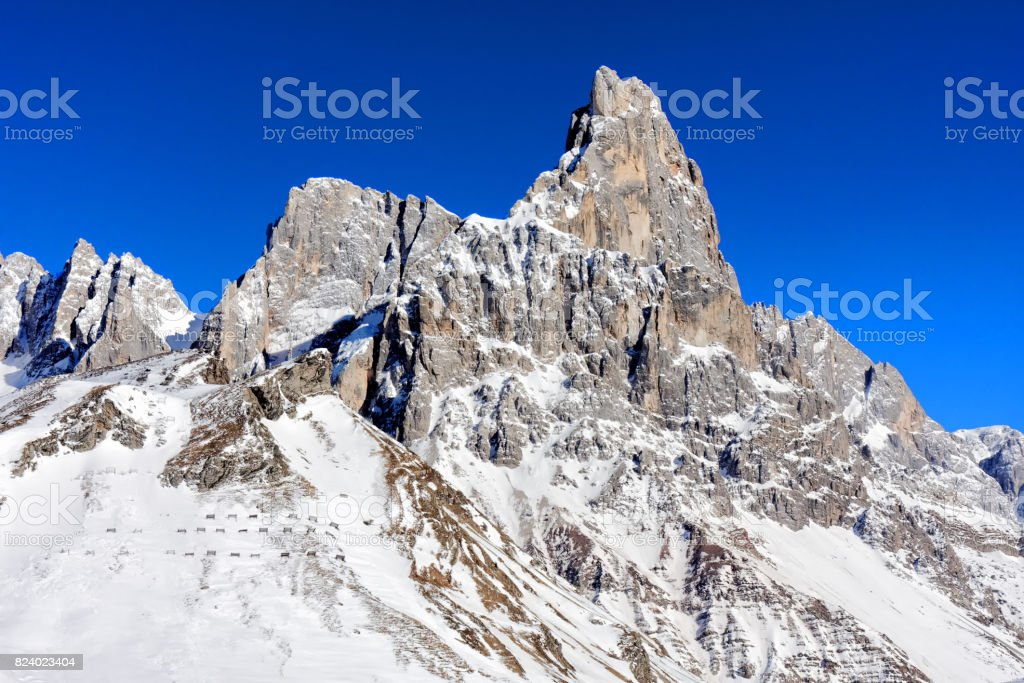 Wintertime landscape snowy mountain stock photo