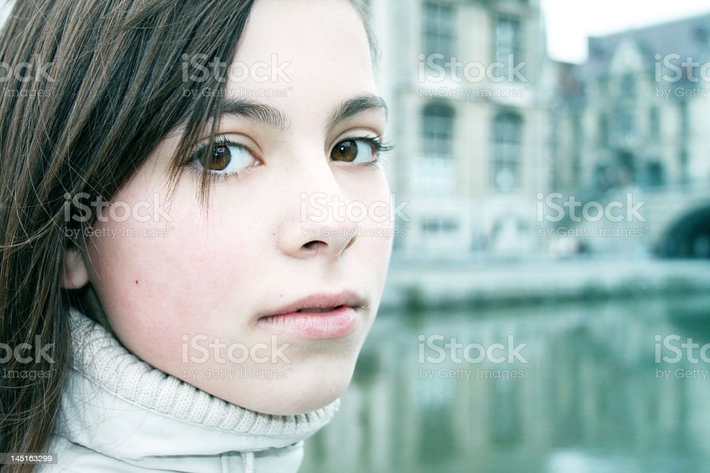 Wintertime Portrait of a Young Girl royalty-free stock photo