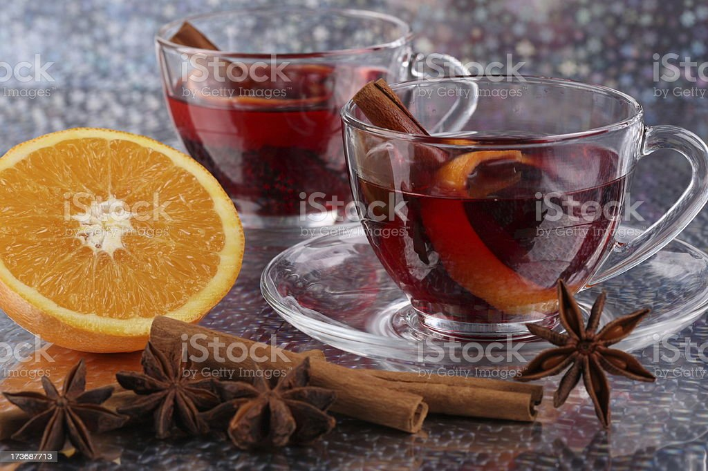 Wintertime Tea Set Two and Orange stock photo