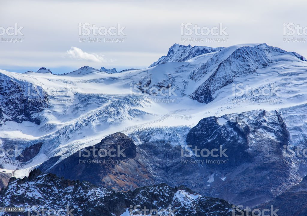 Wintertime view from Mt. Titlis in Switzerland stock photo