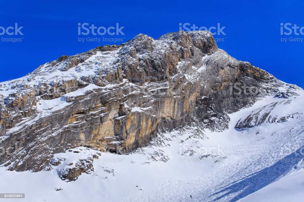 Wintertime view in the Swiss Alps stock photo