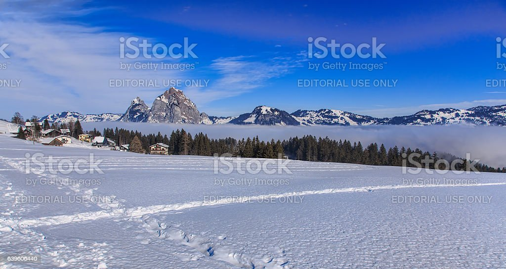 Wintertime view in the village of Stoos, Switzerland stock photo