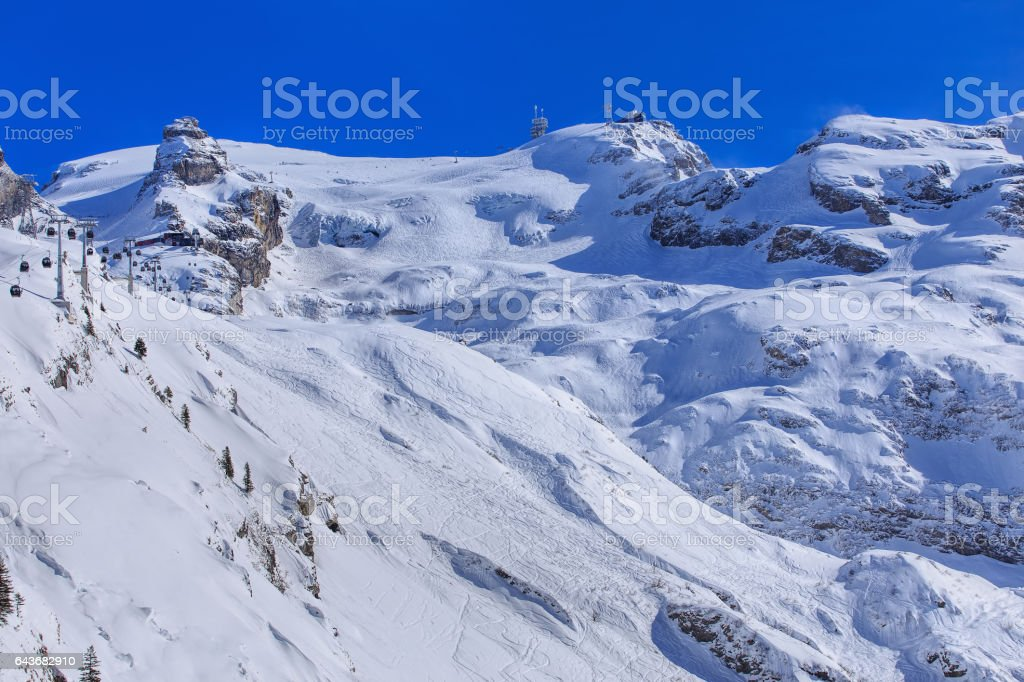 Wintertime view on Mt. Titlis in Switzerland. The Titlis is a mountain, located on the border between the Swiss cantons of Obwalden and Bern. stock photo