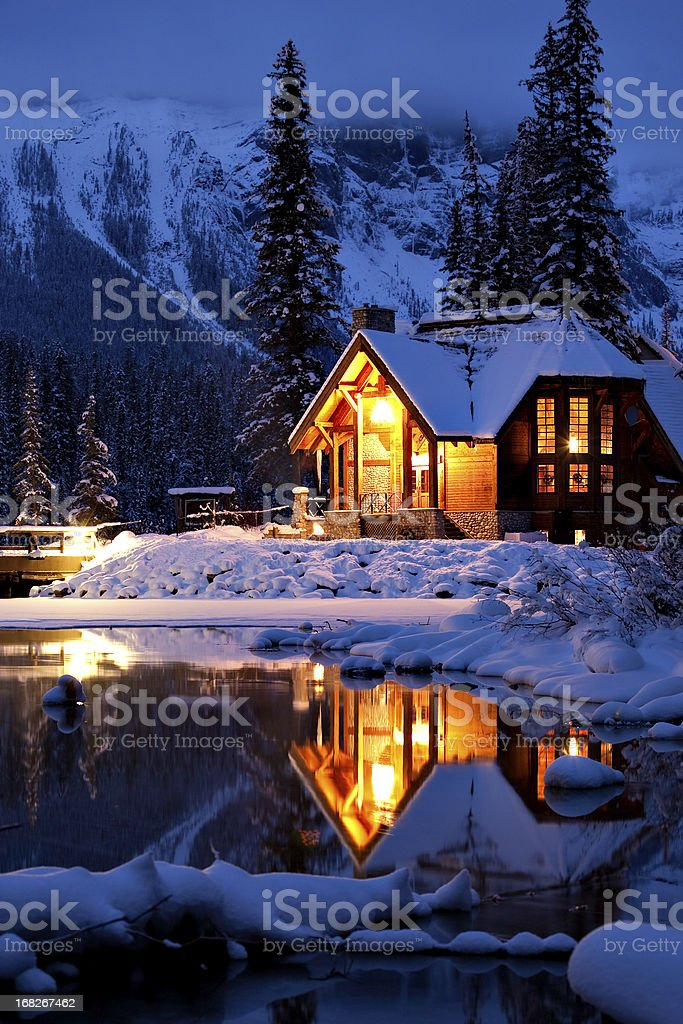 Wintery Cabin Reflection stock photo