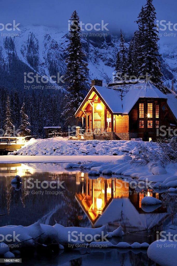 Wintery Cabin Reflection stock photo