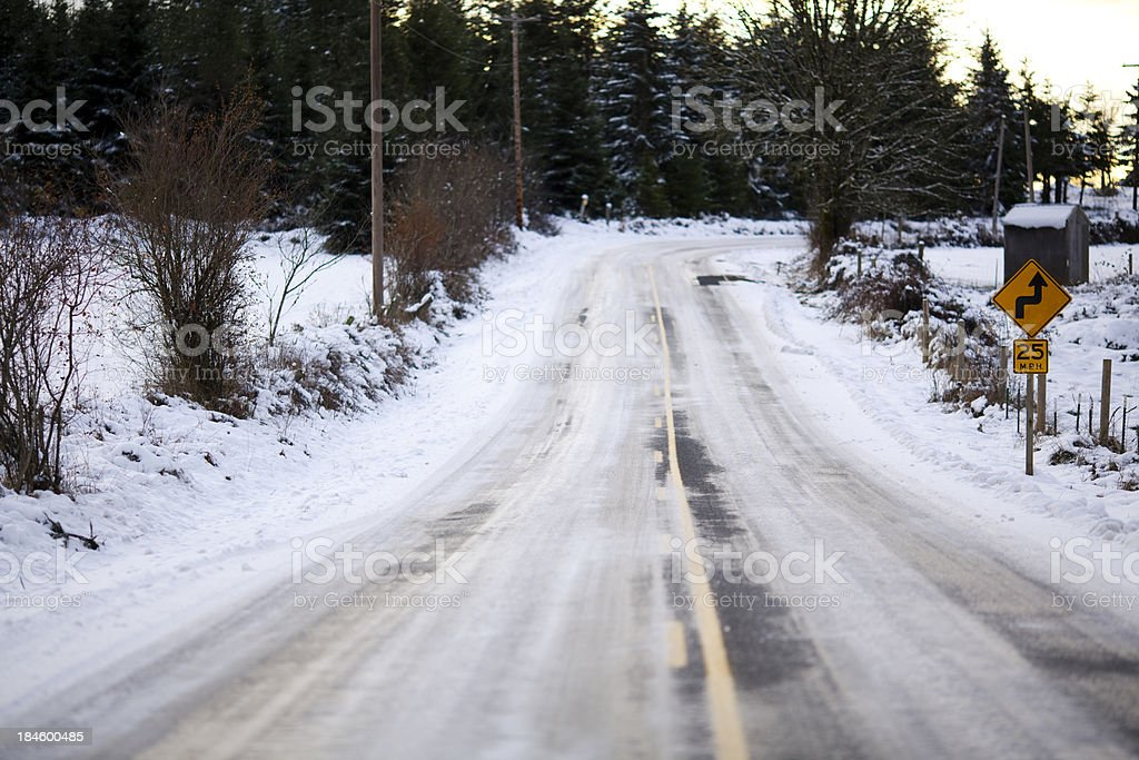 Wintery country road royalty-free stock photo