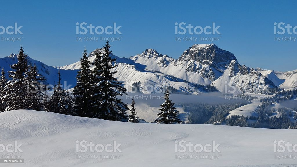 Wintery landscape in Gstaad stock photo