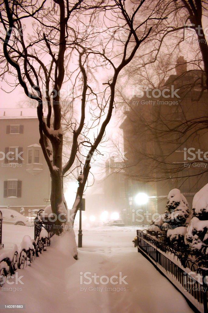 Wintery night in Beacon Hill, Boston royalty-free stock photo