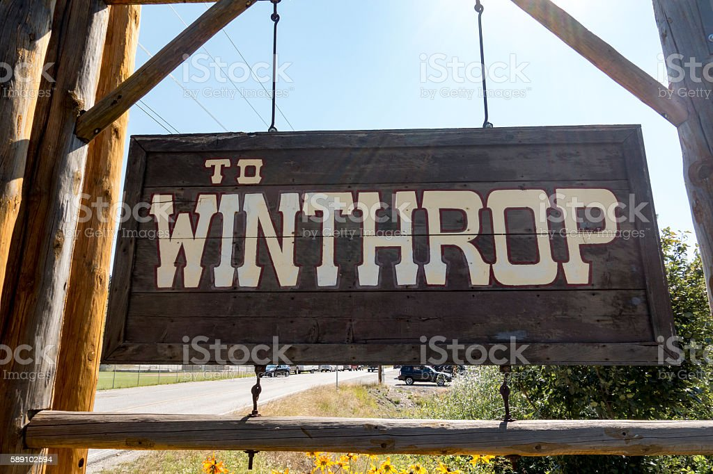 Winthrop, Washington Entrance Traffic Sign stock photo