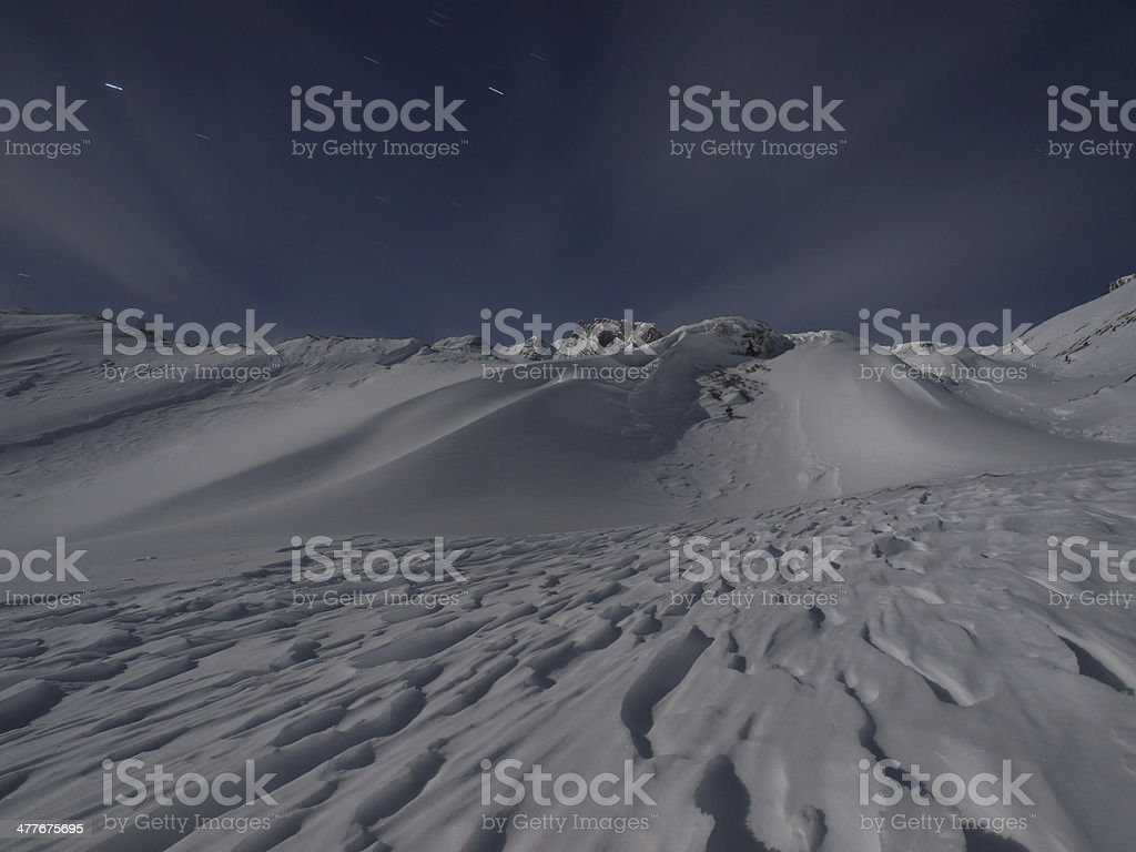 Wintry alpine landscape at night royalty-free stock photo