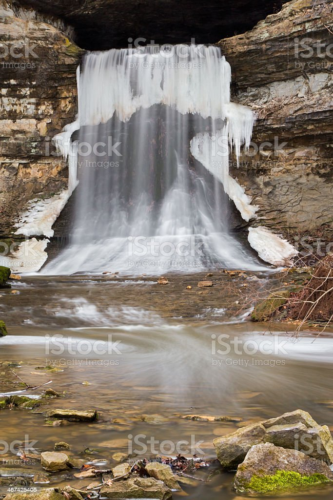 Wintry Porter Cave Falls stock photo