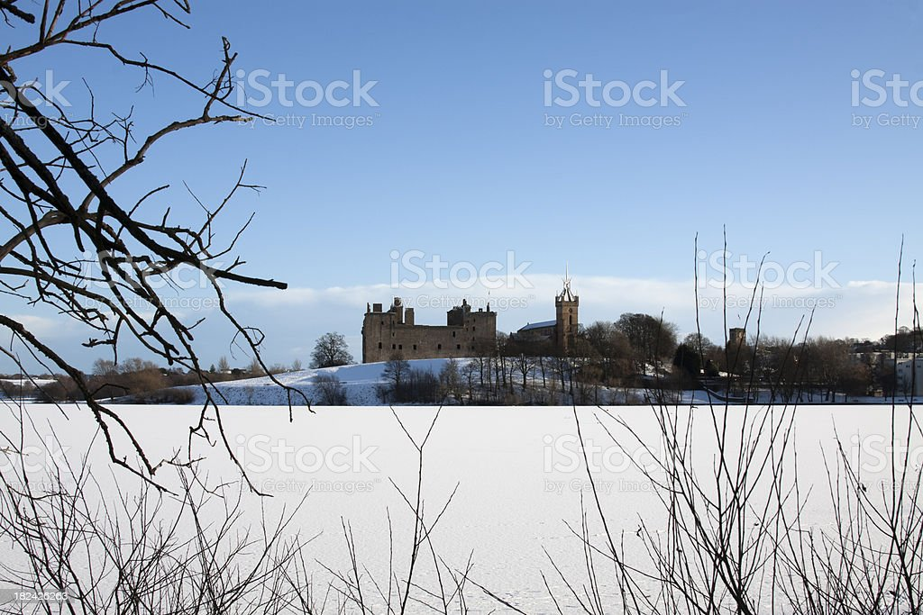 Wintry scene at Linlithgow, Scotland With The Loch Frozen Over. stock photo