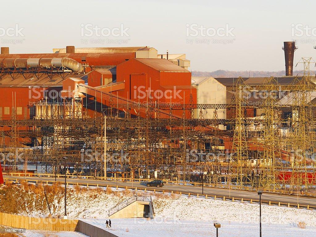 Wintry steel mill stock photo