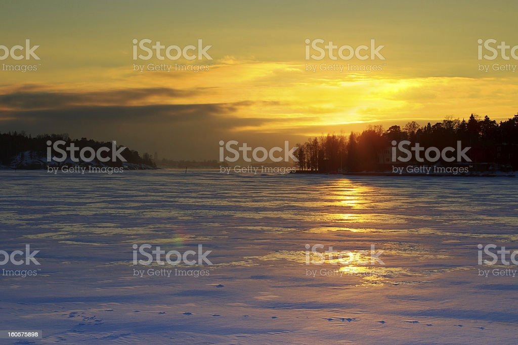Wintry sunset royalty-free stock photo