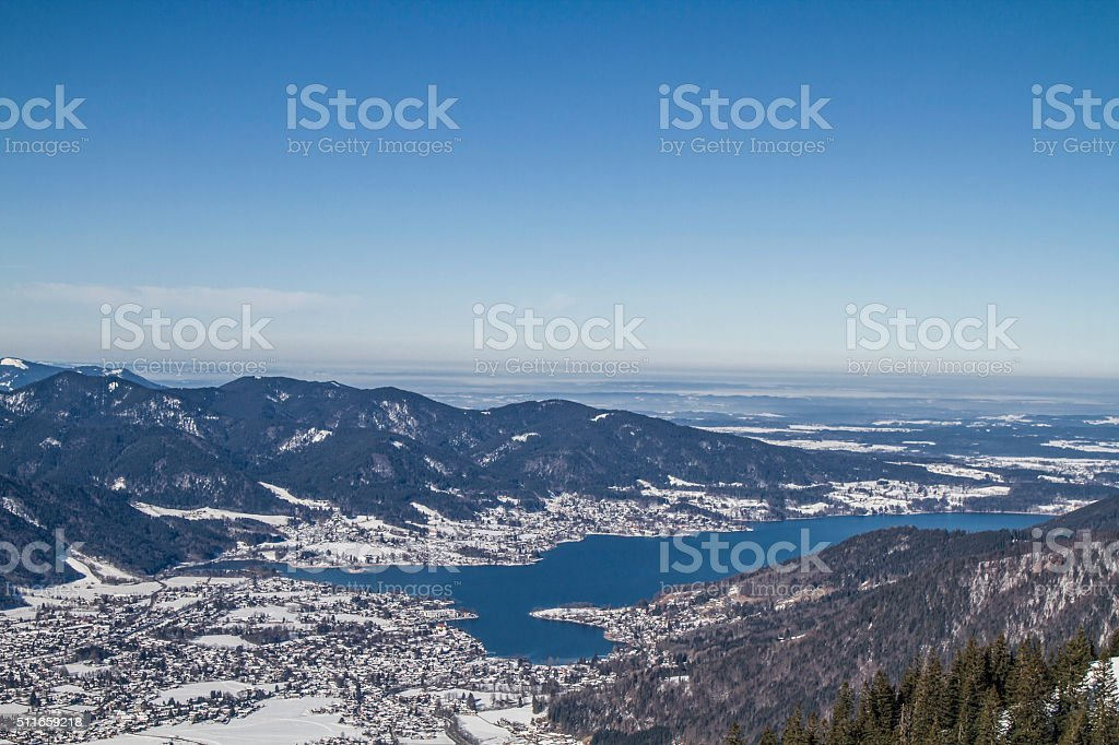 Wintry Tegernsee view stock photo