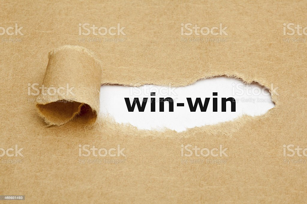 Win-Win Concept Torn Paper stock photo