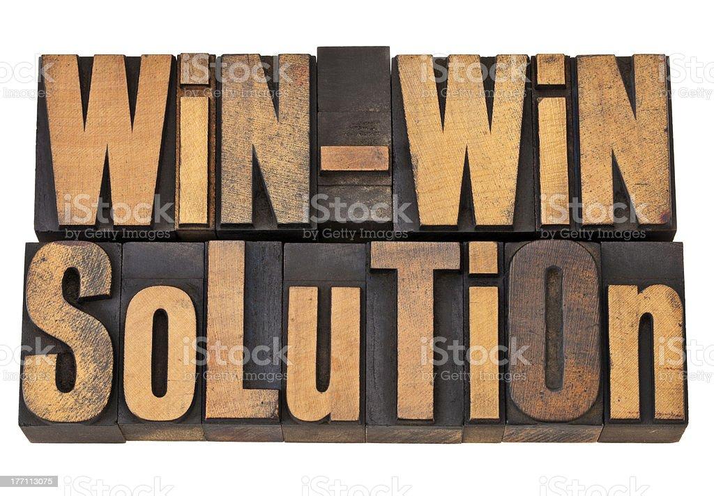 win-win solution in letterpress royalty-free stock photo