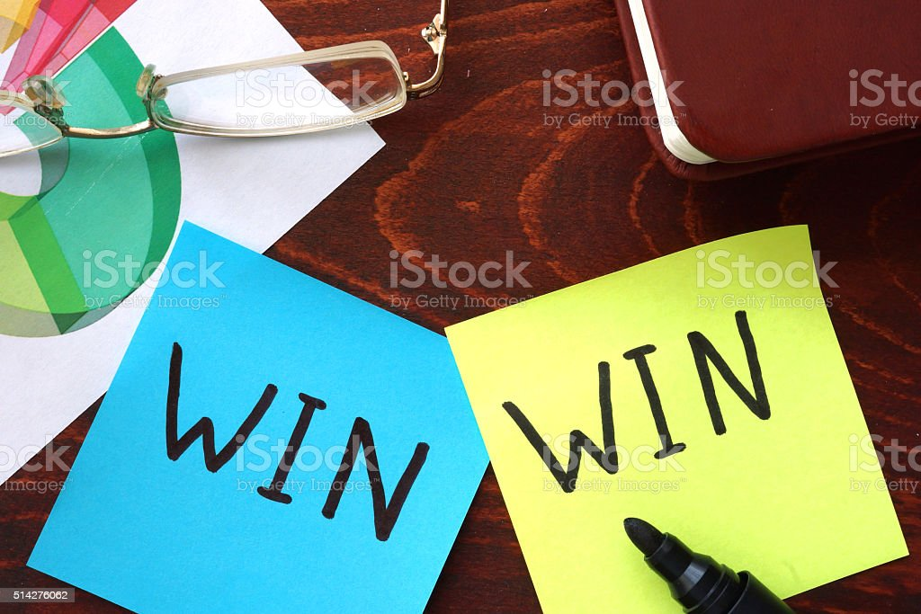 Win-win written on papers. stock photo