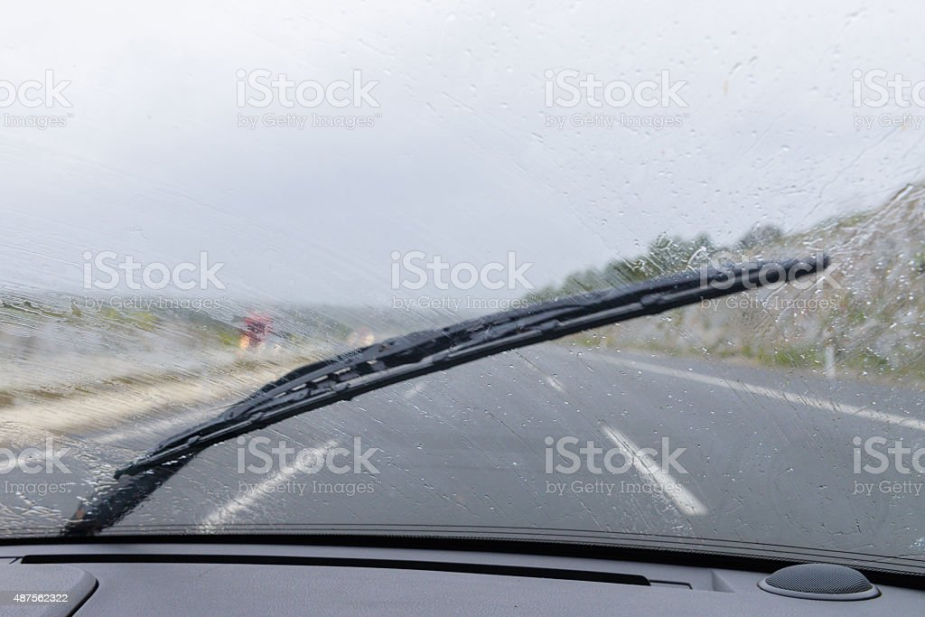 wipers on the windshield stock photo