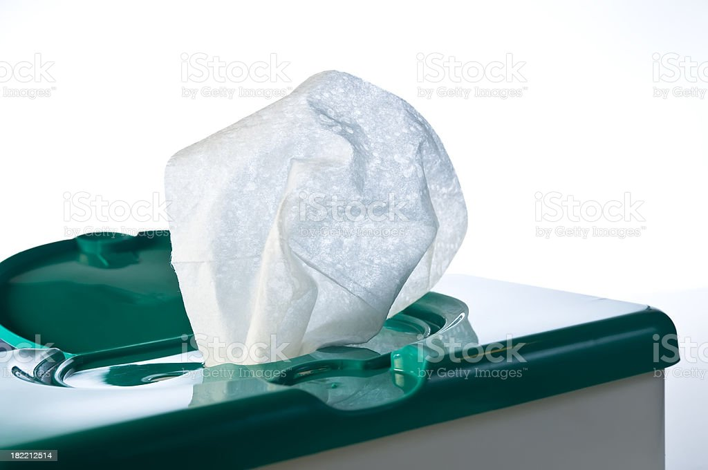 Wipes in a container stock photo