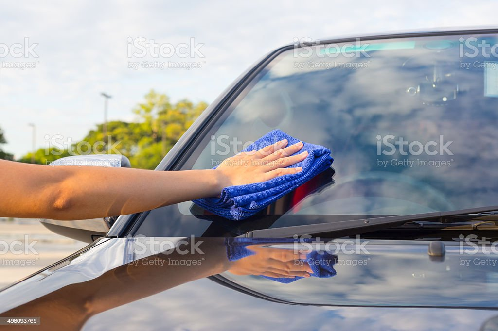 wiping car stock photo