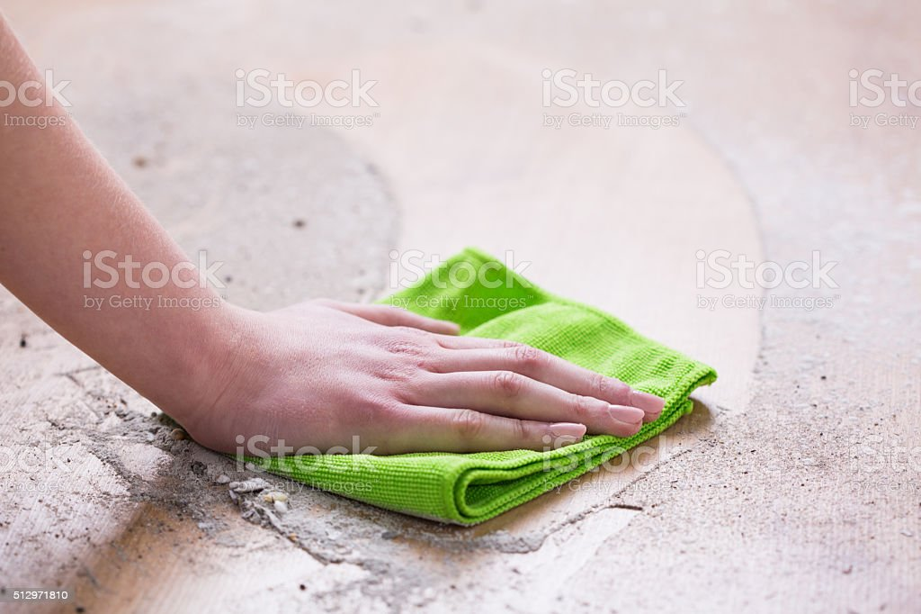 Wiping dirty floor stock photo