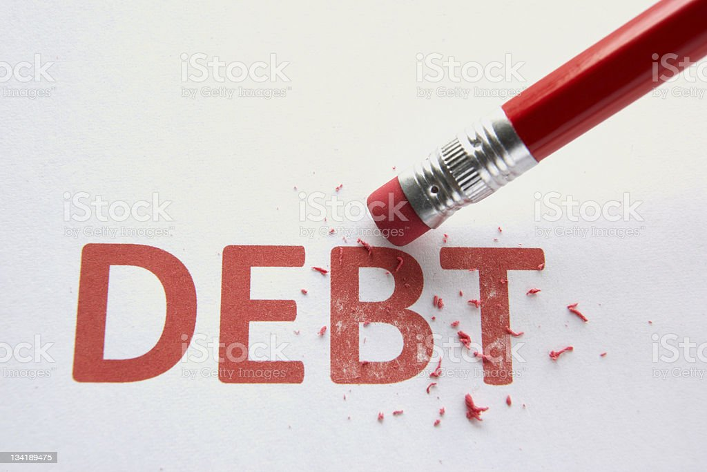 Wiping out debt royalty-free stock photo