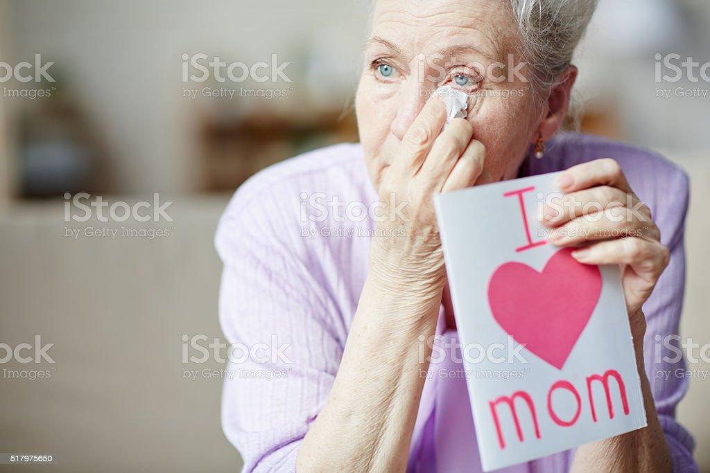Wiping tears stock photo