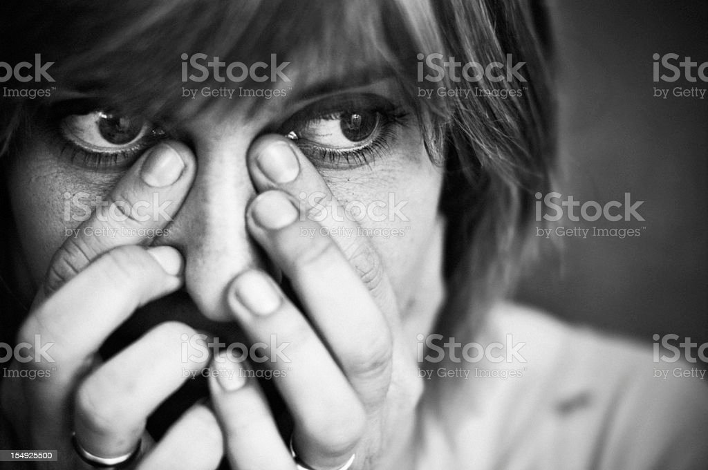 Wiping the tears stock photo