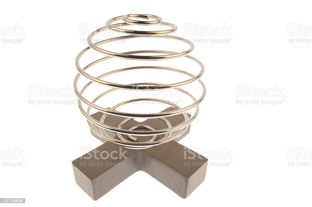 Wire curled on a cross royalty-free stock photo