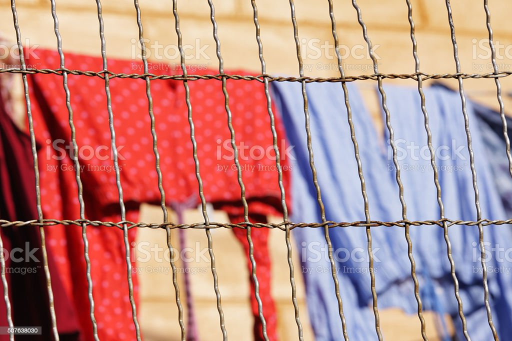 Wire Fence Clothesline Laundry stock photo