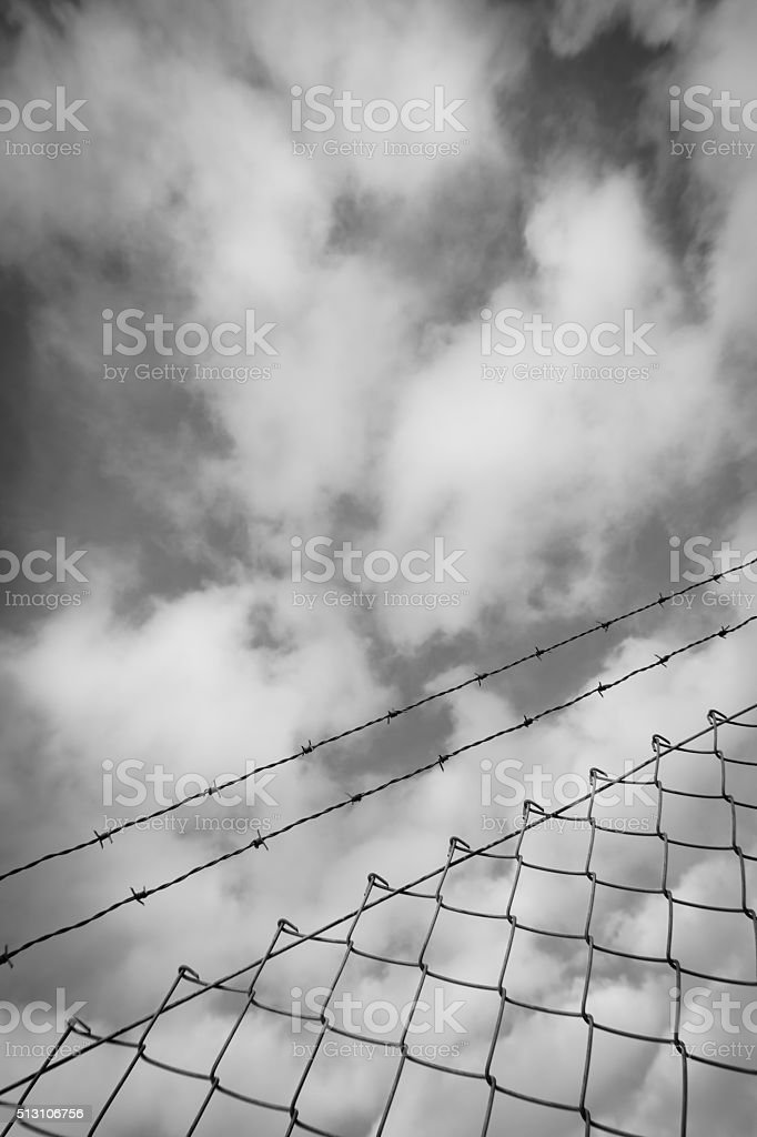 wire fence stock photo