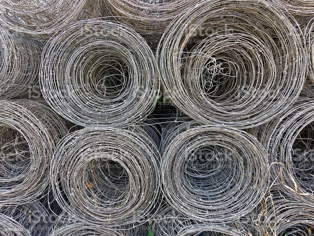 wire fence rolls stock photo