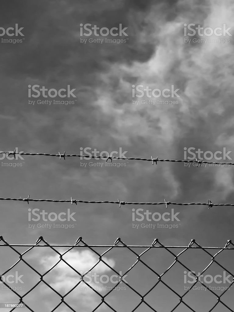 wire fence with blue sky stock photo