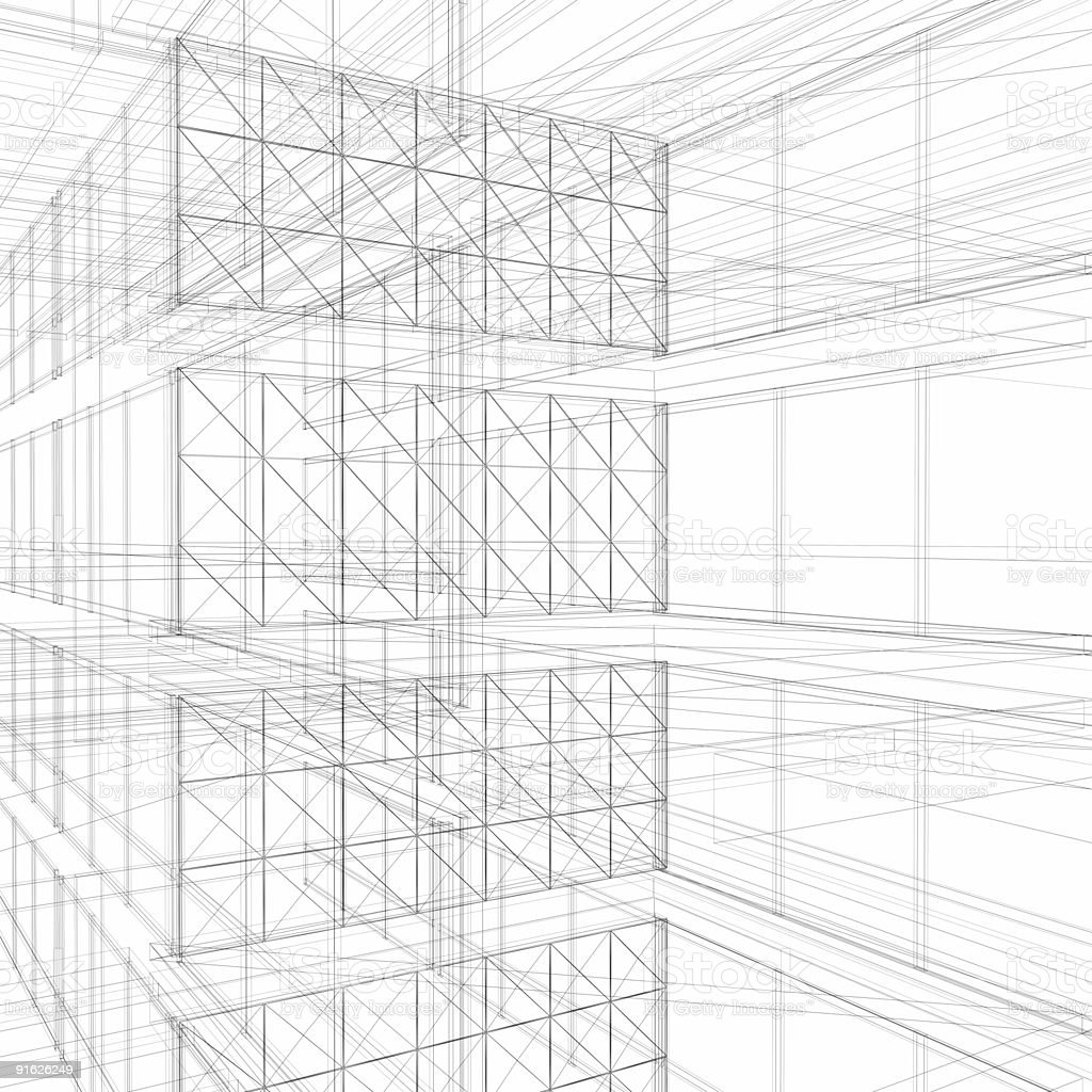 Wire frame floor interiors (isolated on white) royalty-free stock photo