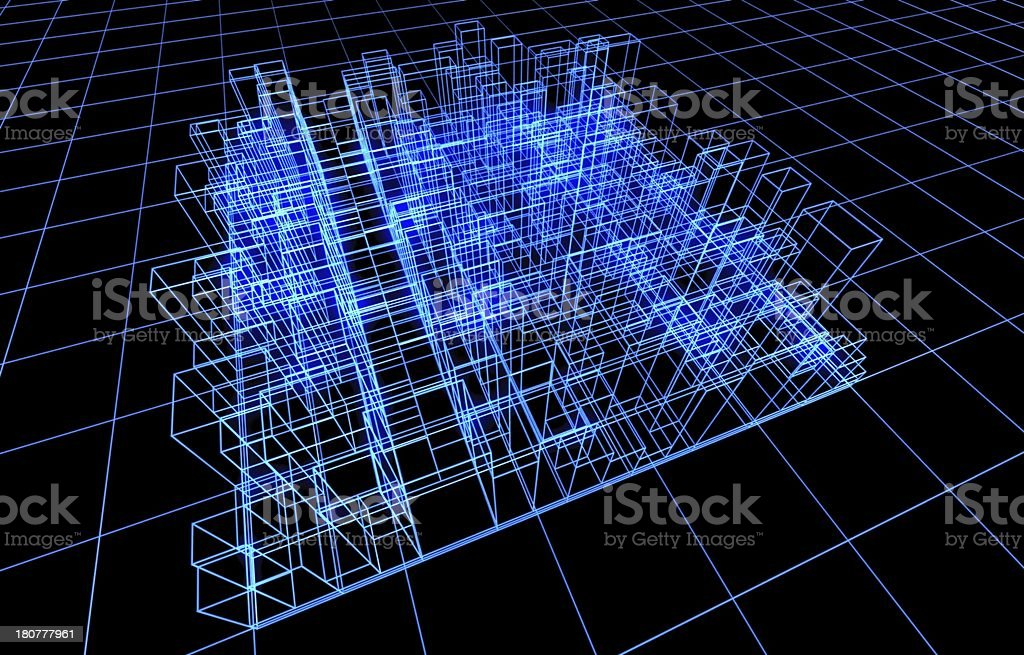 Wire frame presentation of architecture royalty-free stock photo