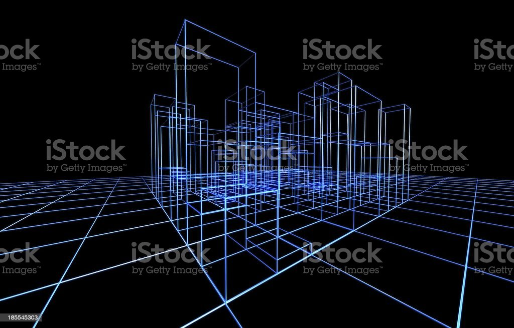 Wire frame presentation of architecture stock photo 185545303 istock blueprint concepts topics construction frame construction industry equipment wire frame presentation of architecture malvernweather Gallery