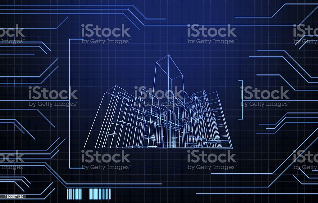 Wire frame presentation of building on technology background royalty-free stock photo