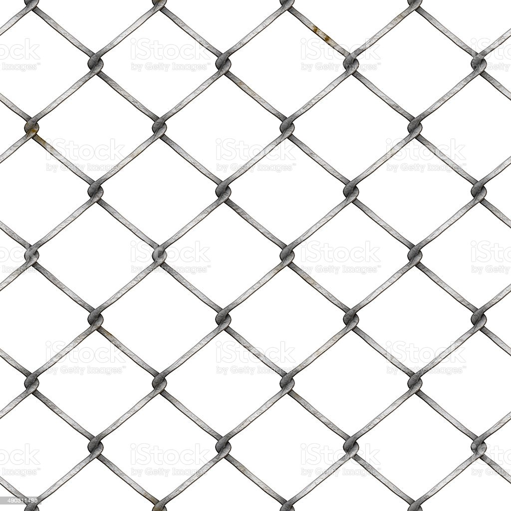 wire mesh fence at white background stock photo