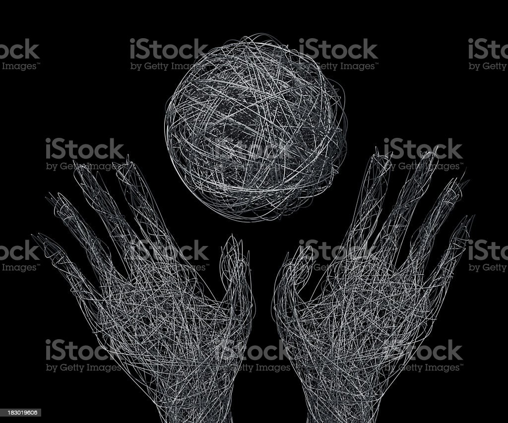 Wire mesh hands and ball concept stock photo