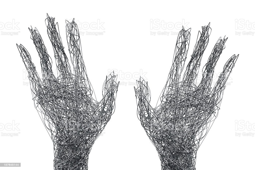 Wire mesh hands reaching out concept stock photo