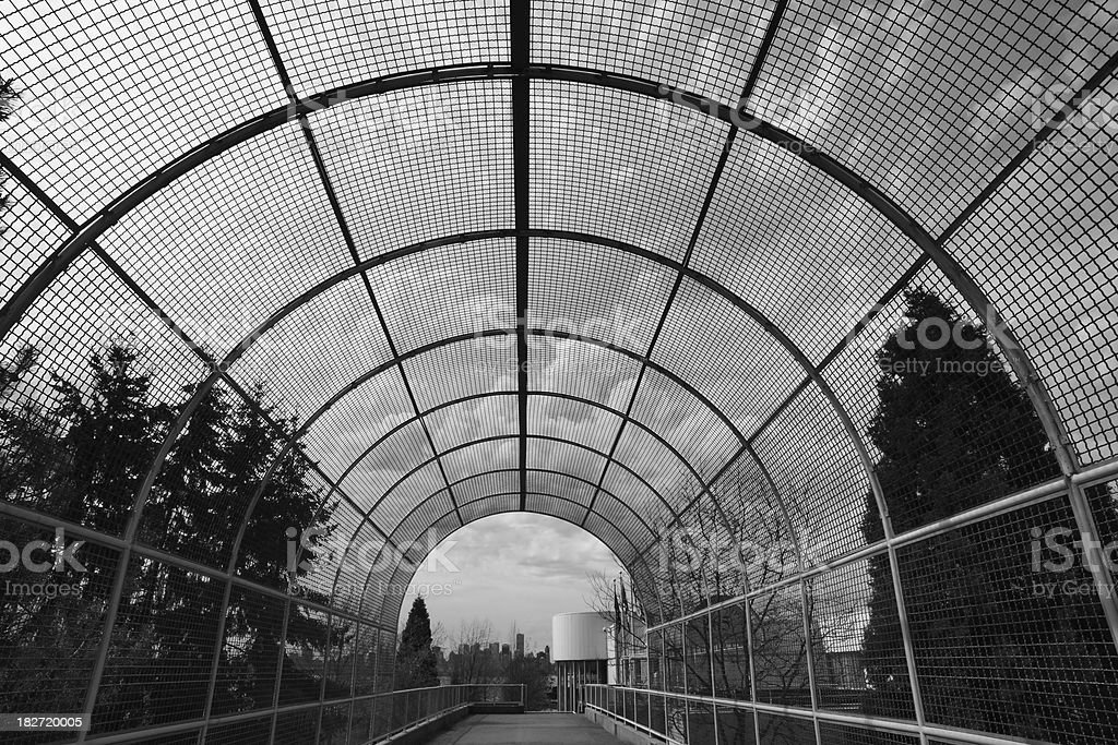 Wire Mesh Pedestrian Passage Way stock photo