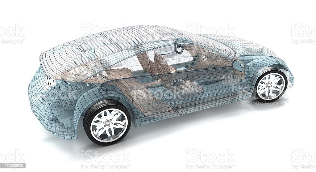 Wire model of a car design isolated on white background royalty-free stock photo